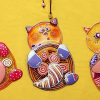 Handmade FUNNY KITTENS glass fusing techniques gift lovers newborn mothers sister family amulet talisman