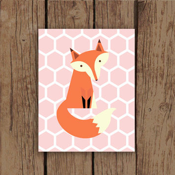 Fox Art Print - Pink Honeycomb Patterned Fox Woodland Nursery Art Print
