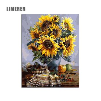 Unframed Sunflower Flowers Painting By Numbers Still Life Living Room Wall Art