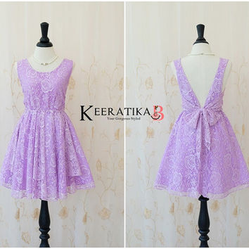 A Party V Charming Dress Sparkle Lilac Lace Dress Prom Party Dress Lilac Backless Dress Lilac Lace Wedding Bridesmaid Violet Dress XS-XL