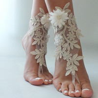 Free ship champagne ivory lace Barefoot Sandals, french lace, shoes, Gothic, Wedding, beach wedding  barefoot sandals