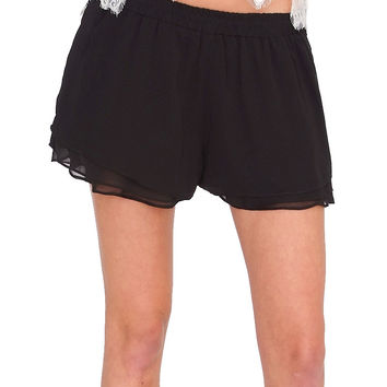 Summer Bliss Chiffon Shorts - Black