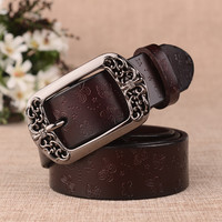 Femme Genuine Ceinture Leather Retro Women Belt Fashion Vintage Metal Pin Buckle Belts for Women Strap Female Embossed Girdle