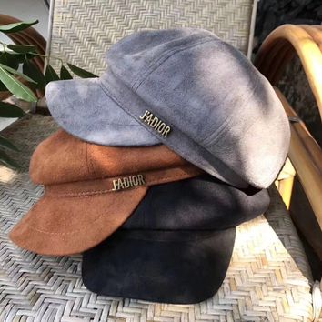 """Dior"" Autumn Winter Women Simple All-match Suede Letter Flat Cap Bowler hat"