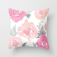 Muted Floral Watercolor Design Throw Pillow by Jenna Kutcher