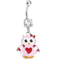 Pink Red Owl Love You Dangle Belly Ring | Body Candy Body Jewelry
