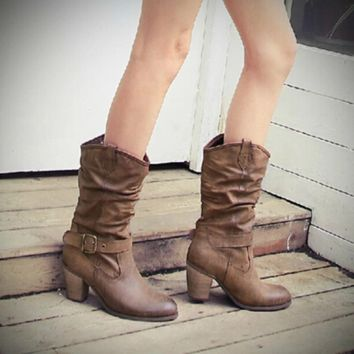 """Sassy Me"" Western Style Taupe Heel Boots"