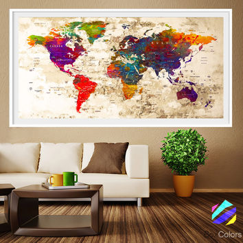 XL Poster Push Pin World Map city Art Print Photo Paper watercolor old texture Wall Decor Home (frame is not included)(P16)FREE Shipping USA