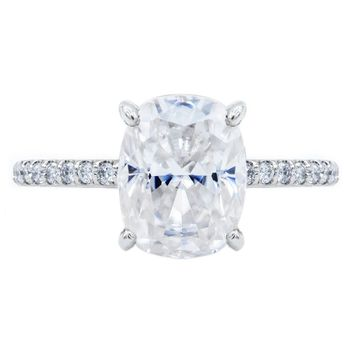 **NEW Elongated Cushion Crushed Ice Moissanite 4 Prongs Diamond Accent Ice Solitaire Ring