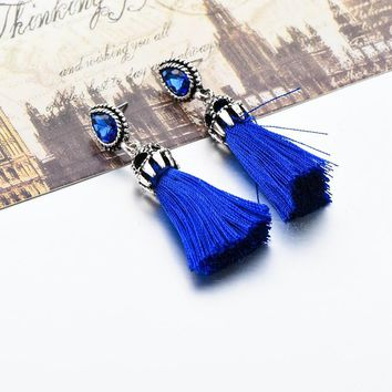 Silver Plated Drop Earrings Crystal Vintage Party