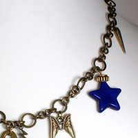 Antiqued Gold Charm Necklace Blue Star Owl Wings Key Butterfly Spike