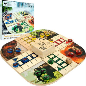 Zoo Animals Wood Board Game Ludo - $29.99