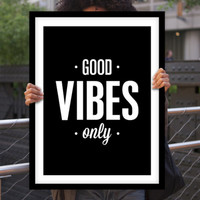 "Typographic Art ""Good Vibes Only"" Wall Art Inspirational Quote Black and White Print Typographic Print Fitness Motivation Poster Print"