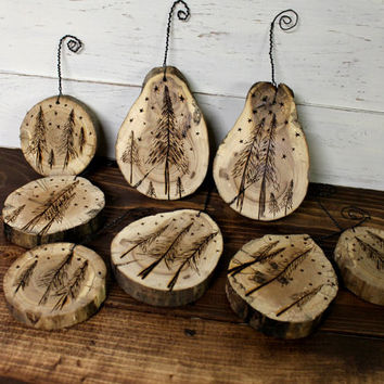 Rustic Wood Slice Ornaments - Rustic Christmas - Tree Slice Ornament - Wood Burned Ornament - Christmas Ornament - Wood Slice - Rustic