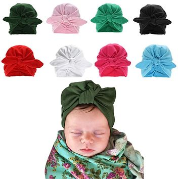 Fashion Baby Rabbit Ear Cap Winter Cute Newborn Baby Turban Hat with Bow Infant Bohemian Beanies Baby Photography Props