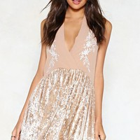 Just Can't Velvet Embroidered Dress