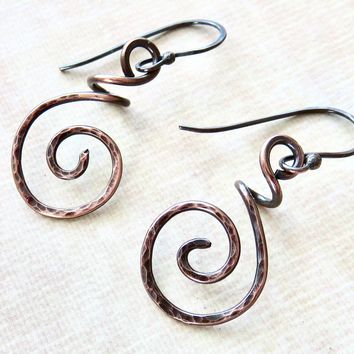 Handmade Copper Earrings - Hammered Copper Coiled Earrings