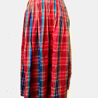 Vintage raw silk skirt, long skirt,tartan skirt,Monsoon skirt, scotish style skirt,pleated skirt
