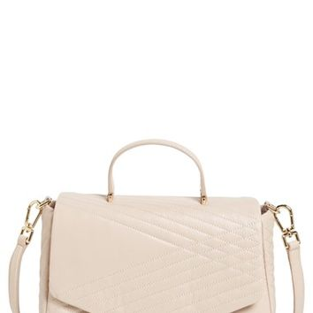 Tory Burch '797' Quilted Leather Satchel - Beige