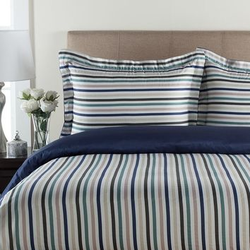 Grand Collection 300-Thread Count Sateen Multi Stripe Reversible Duvet Cover Set