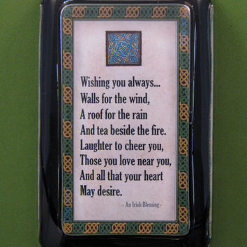 Traditional Irish Blessing Quotation Rectangle Glass Paperweight with Celtic Border Home Decor