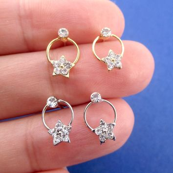Round Hoop Drop Stud Earrings with Stars and Rhinestone Detail