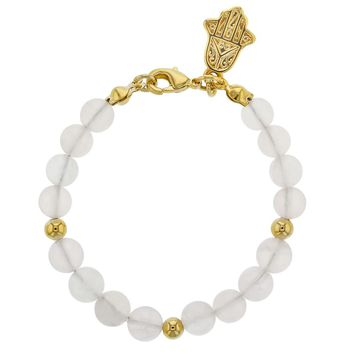 14k Gold Plated Frosted Bead Hamsa Hand Charm Toddler Girls Bracelet 5""
