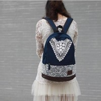 Preppy Canvas Backpack with Lace for Girl