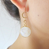 Moonstone Gold Dangle Earrings