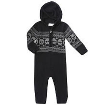 amy coe Boys Black Skull Fair Isle Print Hooded Coverall