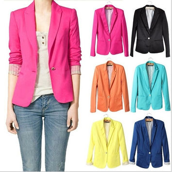 Blazer Jacket Suit Women Suit Fashion Slim Candy Colour One Botton Long Sleeve Blazer Jacket