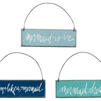 Beach House and Seashore - Mermaid Themed Wooden Sign Ornaments - Set of 3