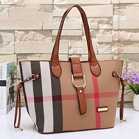 Burberry Women Fashion Leather Satchel Tote Shoulder Bag Handbag
