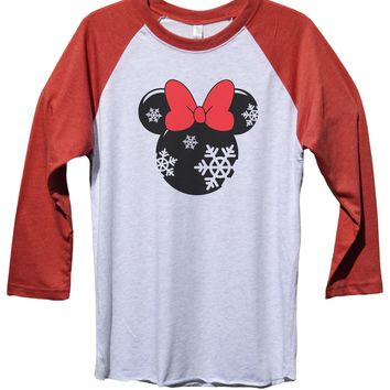 Minnie Mouse Disney Funny Christmas - Unisex Baseball Tee Mens And Womens