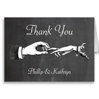 Vintage Thank You Personalized Wedding Ring Card