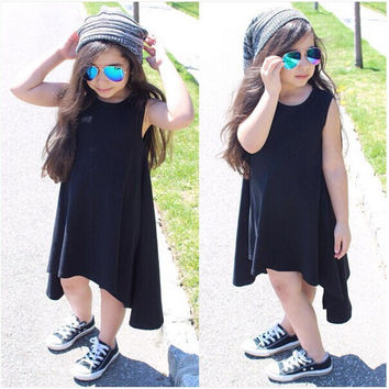 Girls Kids Clothing Dresses Baby Maxi Gray Black Cotton Sleeveless Brief Casual Loose Clothing Outfits Dress Summer Girls 2 - 7Y