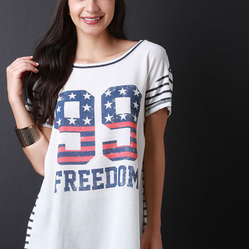 99 Freedom Graphic Print Stripe Back Tee Shirt