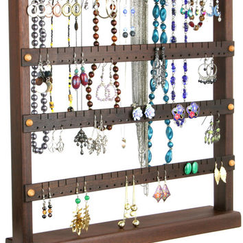 Earring Oragnizer Stand - Jewelry Holder, Peruvian Walnut, Wood, plus Necklace Holder. Holds 96 pairs of Earrings, 10 pegs. Jewelry Display