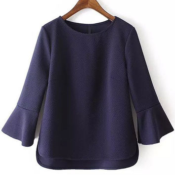 Navy Bell Sleeve Short Front Blouse