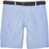 River Island MensBlue Oxford belted shorts