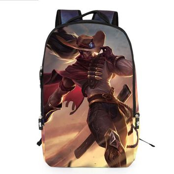 2017 New Fashion League of Legends Game backpacks boy 3D cartoon printed Teemo Men Rucksacks Middle School Students Leisure Bags