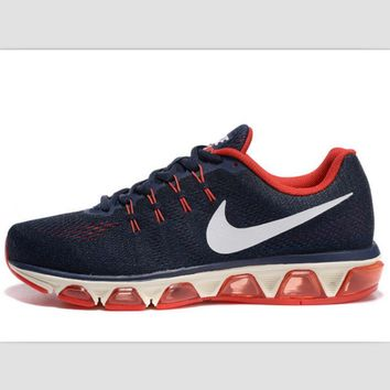 NIKE fashion knitted casual shoes sports running shoes Dark blue red