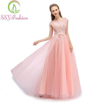 New Banquet Evening Dress The Bride Sweet Pink Lace Flower with Beading Prom Party Formal Gown Robe