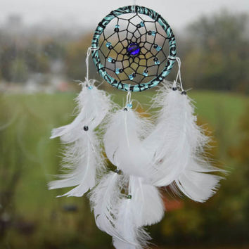 White Boho Dream Catcher, Car Accessories for Women, White Dreamcatcher, Rear View Mirror Charm, White Dream Catcher