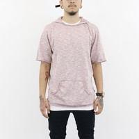 Jared Short Sleeve Hoodie ( Light Red)