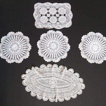 Vintage Crochet Doily, Off White, Centerpiece Doilies, Doily Lot