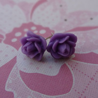Purple Flowers Post Earrings