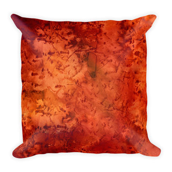Watercolor Rusty Orange Decorative Throw Pillow 18x18