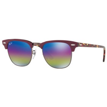 Ray-Ban RB3016 1222C2 Clubmaster Classic Blue Rainbow Flash Lens Red Sunglasses