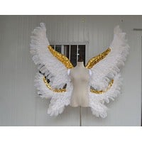 Large White or Black Double Angel Feather Wings Catwalk Wedding Cosplay